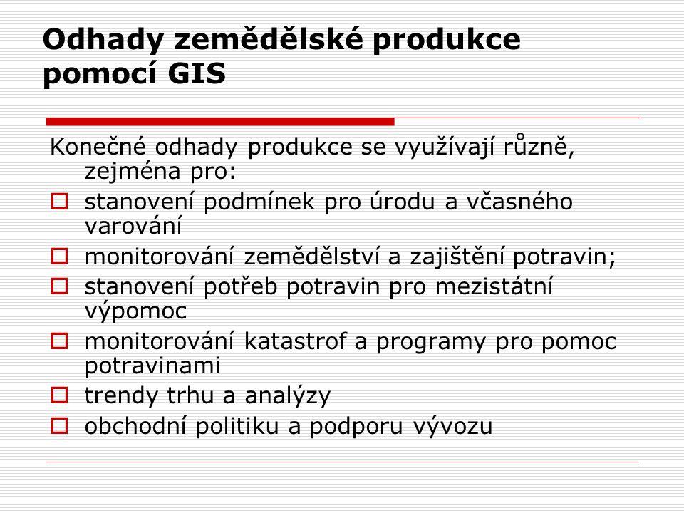 Odhady zemědělské produkce pomocí GIS Konečné odhady produkce se využívají různě, zejména pro:  stanovení podmínek pro úrodu a včasného varování  mo