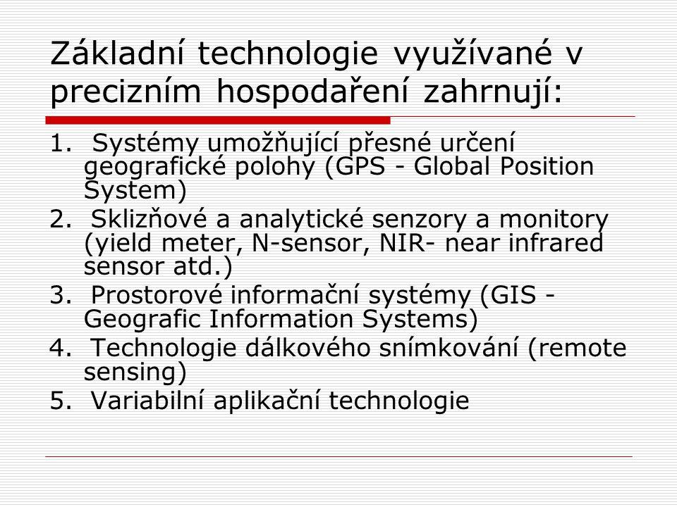 Základní technologie využívané v precizním hospodaření zahrnují: 1. Systémy umožňující přesné určení geografické polohy (GPS - Global Position System)