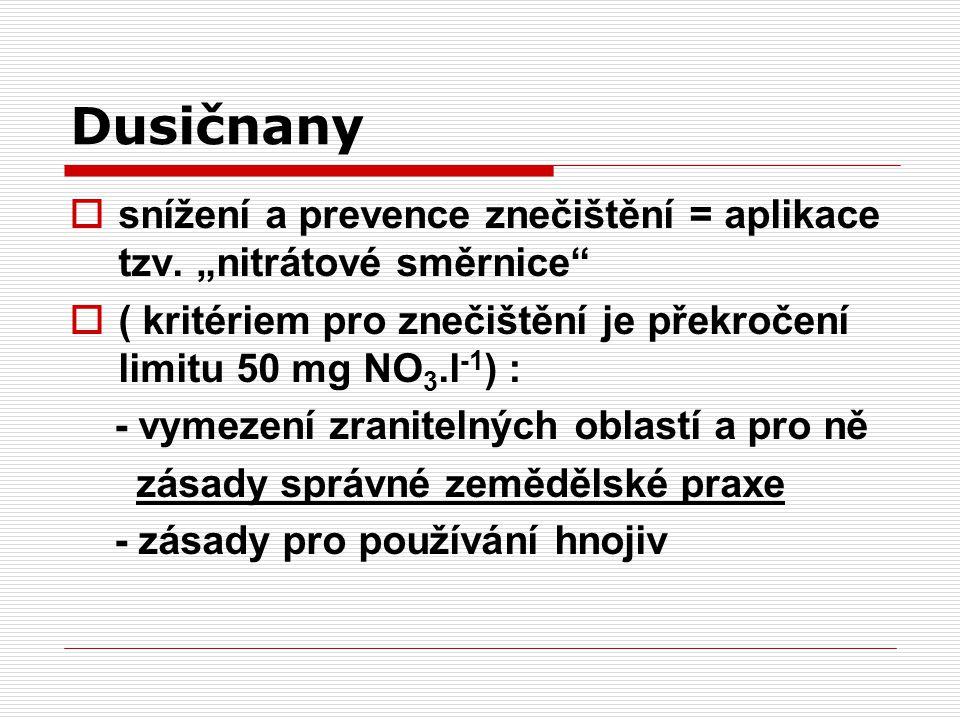 """Dusičnany  snížení a prevence znečištění = aplikace tzv. """"nitrátové směrnice""""  ( kritériem pro znečištění je překročení limitu 50 mg NO 3.l -1 ) : -"""