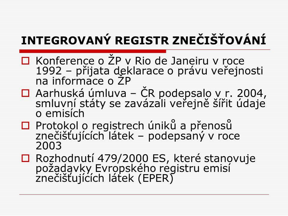 Přínosy zavedení IRZ:  Veřejné využití – dostupnost informací z IRZ pomocí Internetu (www.irz.cz) a z něj vyplývající veřejná kontrolawww.irz.cz  Využití průmyslovými a zemědělskými podniky – dojde ke zjednodušení a usnadnění plnění ohlašovacích povinností, které se budou vykonávat efektivně, jednoduše a transparentně.