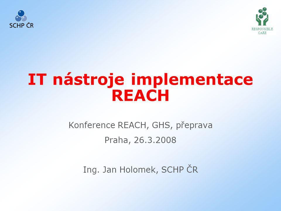 RESPONSIBLE CARE IT nástroje implementace REACH Konference REACH, GHS, přeprava Praha, 26.3.2008 Ing.