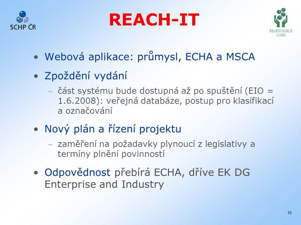 RESPONSIBLE CARE 10 REACH-IT Webová aplikace: průmysl, ECHA a MSCA Zpoždění vydání – část systému bude dostupná až po spuštění (EIO = 1.6.2008): veřejná databáze, postup pro klasifikací a označování Nový plán a řízení projektu – zaměření na požadavky plynoucí z legislativy a termíny plnění povinností Odpovědnost přebírá ECHA, dříve EK DG Enterprise and Industry