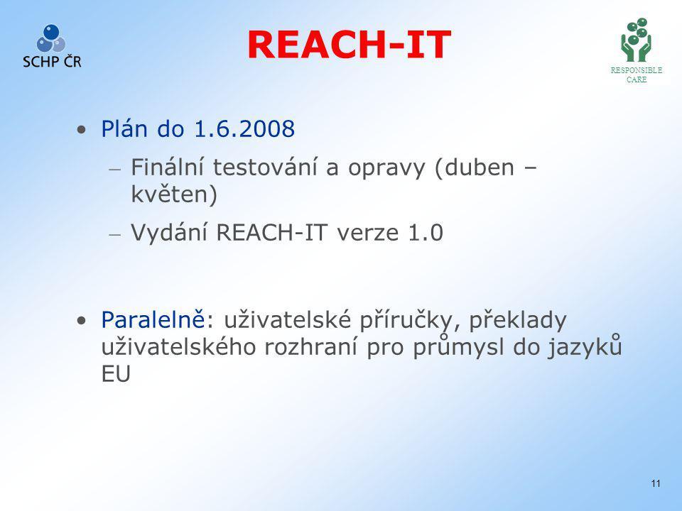 RESPONSIBLE CARE 11 REACH-IT Plán do 1.6.2008 – Finální testování a opravy (duben – květen) – Vydání REACH-IT verze 1.0 Paralelně: uživatelské příručky, překlady uživatelského rozhraní pro průmysl do jazyků EU
