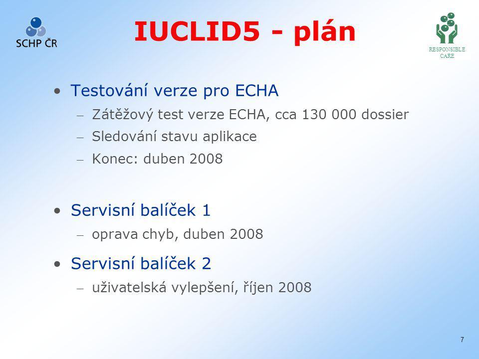 RESPONSIBLE CARE 7 IUCLID5 - plán Testování verze pro ECHA – Zátěžový test verze ECHA, cca 130 000 dossier – Sledování stavu aplikace – Konec: duben 2008 Servisní balíček 1 – oprava chyb, duben 2008 Servisní balíček 2 – uživatelská vylepšení, říjen 2008