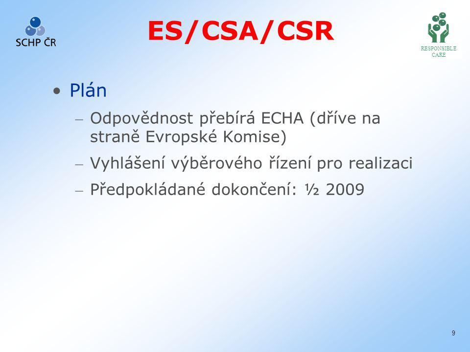 RESPONSIBLE CARE 9 ES/CSA/CSR Plán – Odpovědnost přebírá ECHA (dříve na straně Evropské Komise) – Vyhlášení výběrového řízení pro realizaci – Předpokládané dokončení: ½ 2009