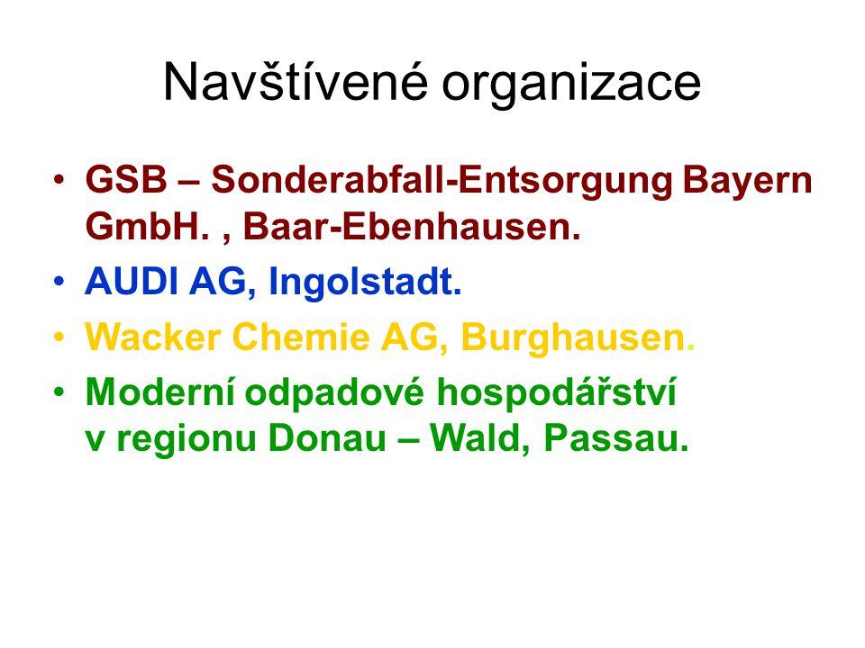 Navštívené organizace GSB – Sonderabfall-Entsorgung Bayern GmbH., Baar-Ebenhausen.