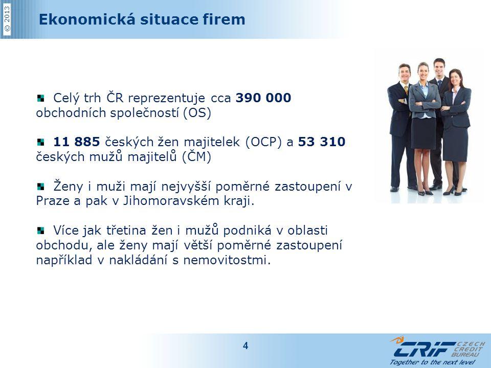 © 2013 Ekonomická situace firem 4 Celý trh ČR reprezentuje cca 390 000 obchodních společností (OS) 11 885 českých žen majitelek (OCP) a 53 310 českých