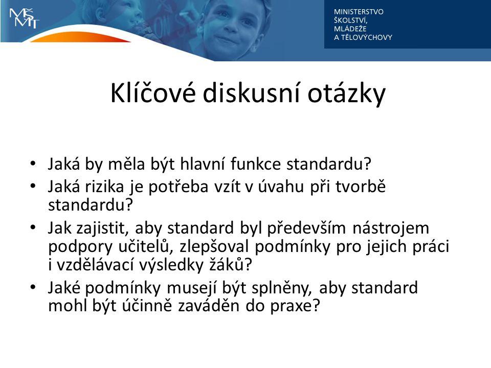 Klíčové diskusní otázky Jaká by měla být hlavní funkce standardu.