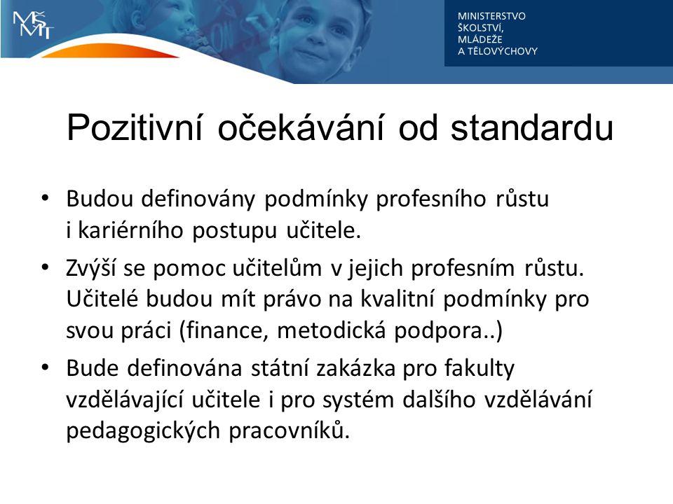 Pozitivní očekávání od standardu Budou definovány podmínky profesního růstu i kariérního postupu učitele.