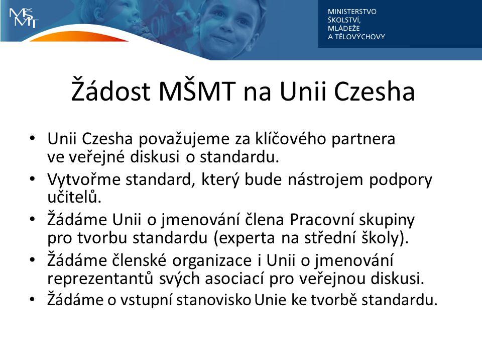 Žádost MŠMT na Unii Czesha Unii Czesha považujeme za klíčového partnera ve veřejné diskusi o standardu.