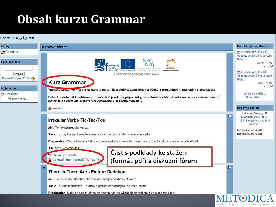 Obsah kurzu Grammar Část s podklady ke stažení (formát pdf) a diskuzní fórum