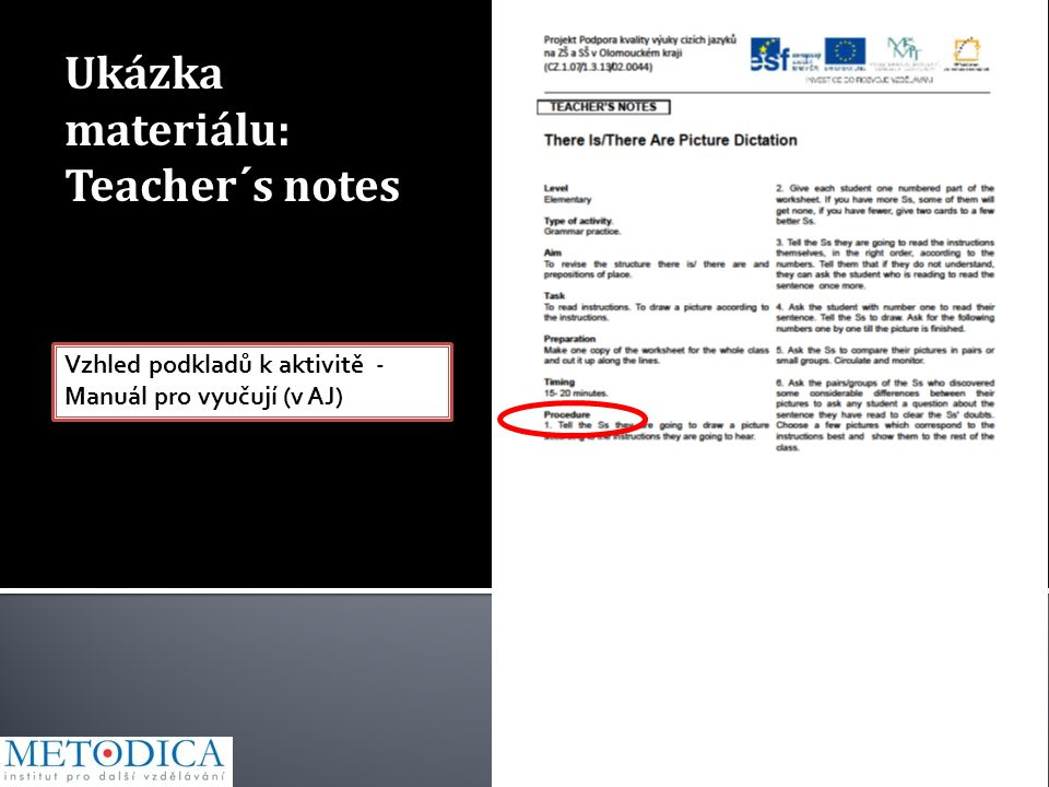 Ukázka materiálu: Teacher´s notes Vzhled podkladů k aktivitě - Manuál pro vyučují (v AJ)