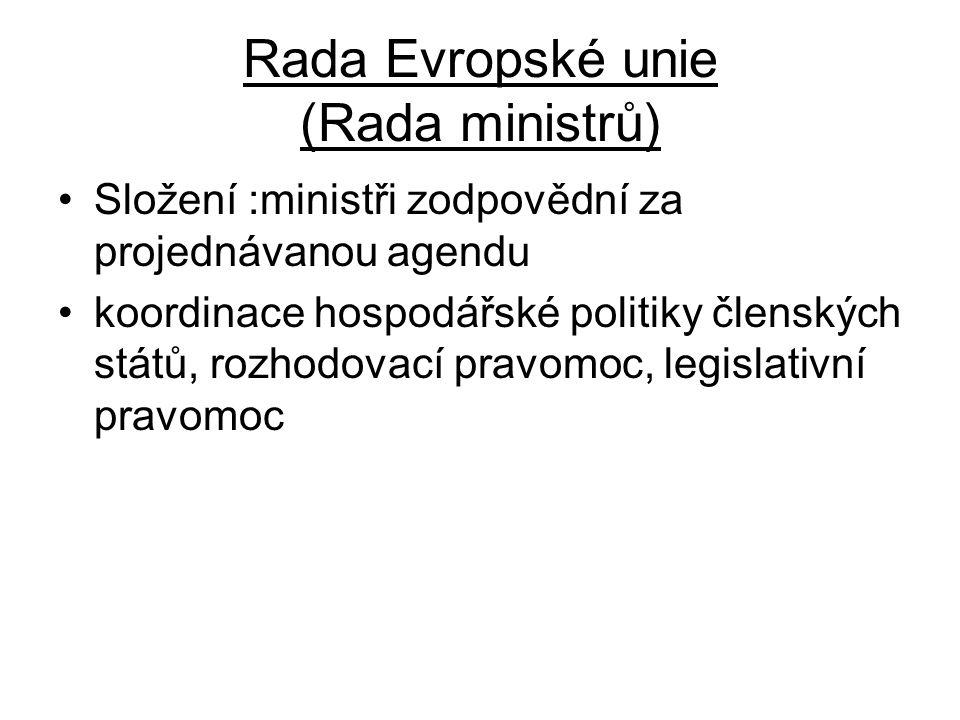 Rada Evropské unie (Rada ministrů) Složení :ministři zodpovědní za projednávanou agendu koordinace hospodářské politiky členských států, rozhodovací p