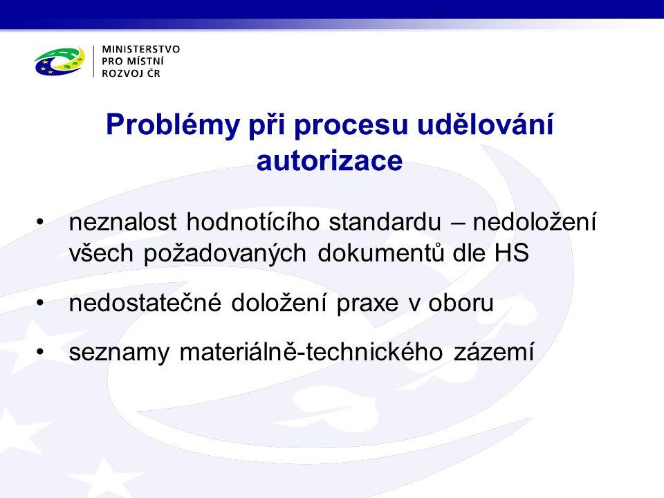 neznalost hodnotícího standardu – nedoložení všech požadovaných dokumentů dle HS nedostatečné doložení praxe v oboru seznamy materiálně-technického zázemí Problémy při procesu udělování autorizace