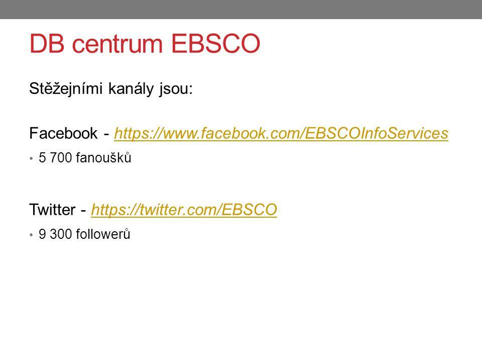 Stěžejními kanály jsou: Facebook - https://www.facebook.com/EBSCOInfoServiceshttps://www.facebook.com/EBSCOInfoServices 5 700 fanoušků Twitter - https://twitter.com/EBSCOhttps://twitter.com/EBSCO 9 300 followerů