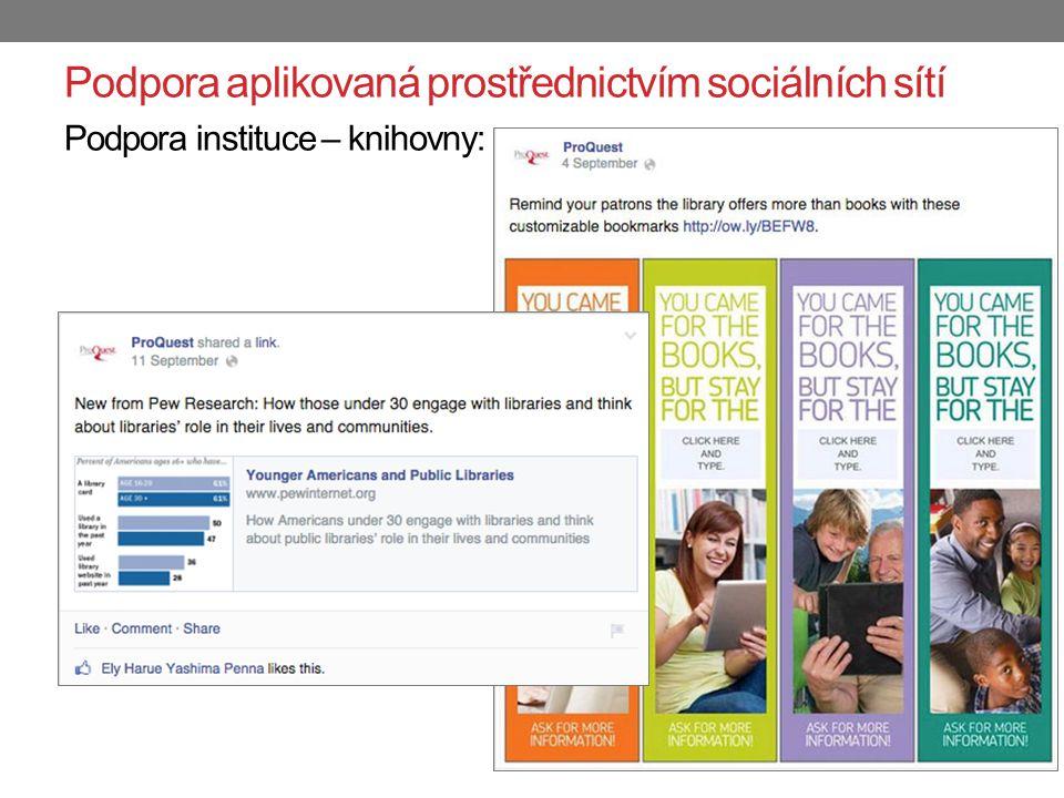 Podpora aplikovaná prostřednictvím sociálních sítí Podpora instituce – knihovny: