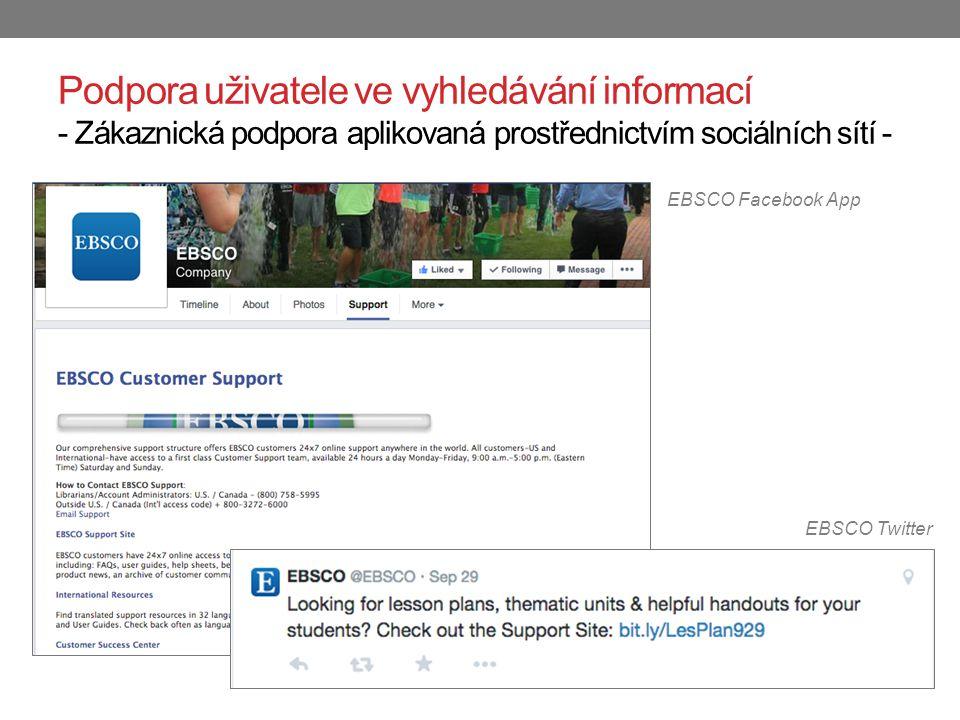 Podpora uživatele ve vyhledávání informací - Zákaznická podpora aplikovaná prostřednictvím sociálních sítí - EBSCO Twitter EBSCO Facebook App
