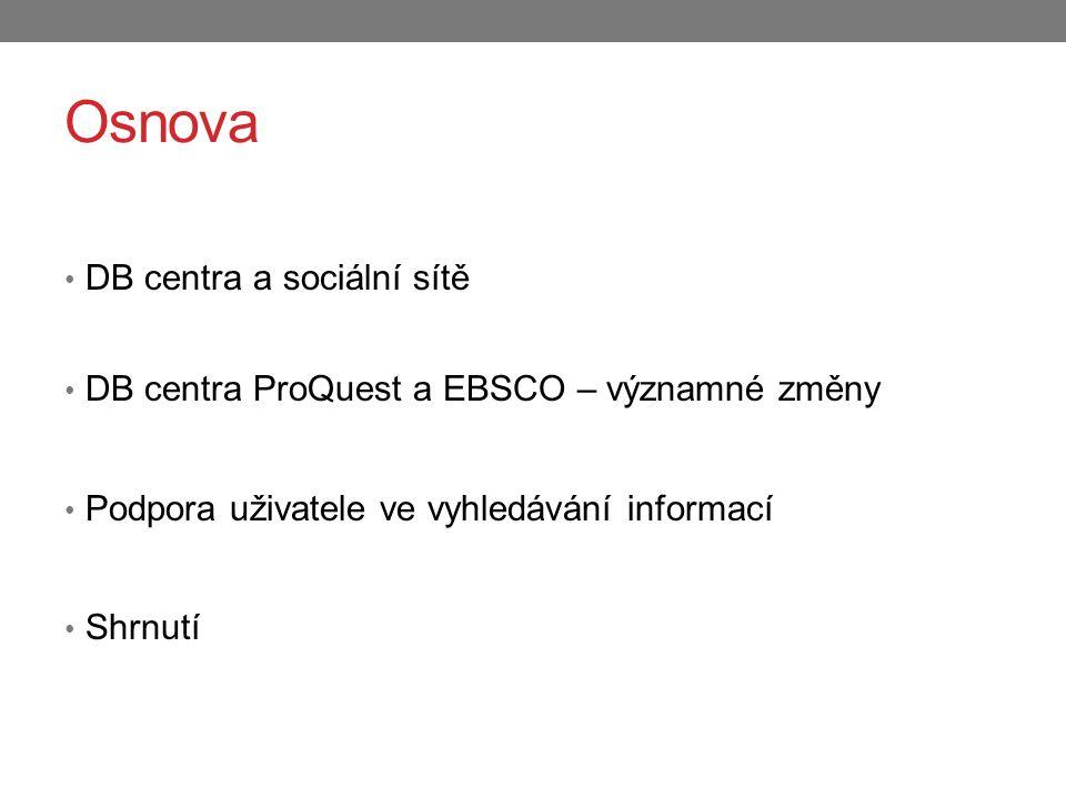 Osnova DB centra a sociální sítě DB centra ProQuest a EBSCO – významné změny Podpora uživatele ve vyhledávání informací Shrnutí