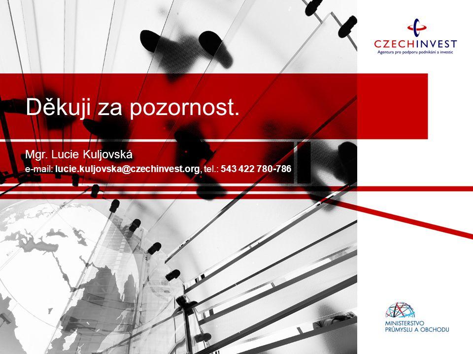 Děkuji za pozornost. Mgr. Lucie Kuljovská e-mail: lucie.kuljovska@czechinvest.org, tel.: 543 422 780-786