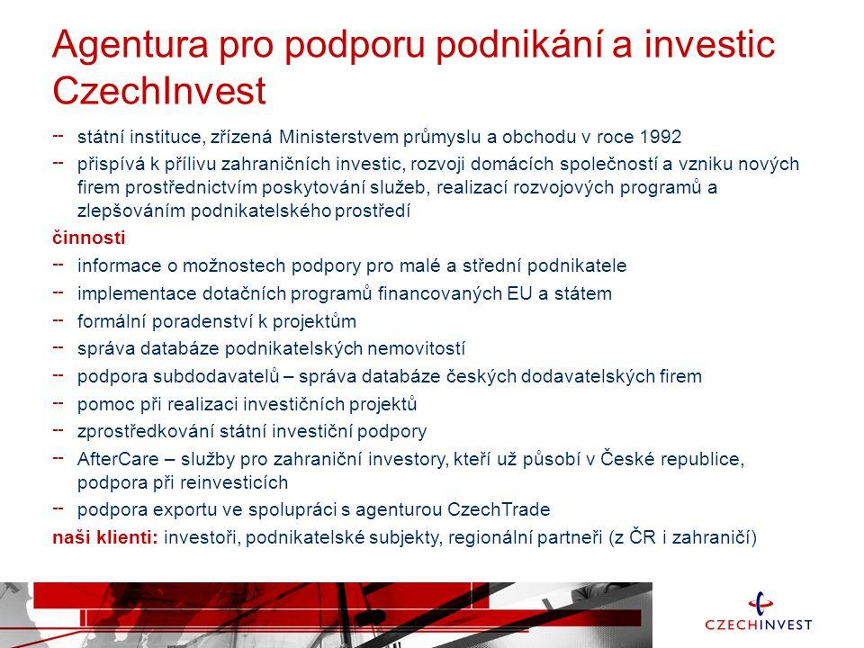 Agentura pro podporu podnikání a investic CzechInvest státní instituce, zřízená Ministerstvem průmyslu a obchodu v roce 1992 přispívá k přílivu zahran