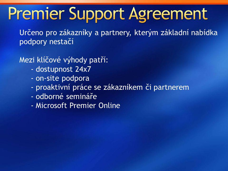 Určeno pro zákazníky a partnery, kterým základní nabídka podpory nestačí Mezi klíčové výhody patří: - dostupnost 24x7 - on-site podpora - proaktivní p