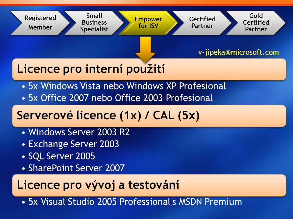 Registered Member Small Business Specialist Empower for ISV Certified Partner Gold Certified Partner Licence pro interní použití 5x Windows Vista nebo Windows XP Profesional 5x Office 2007 nebo Office 2003 Profesional Serverové licence (1x) / CAL (5x) Windows Server 2003 R2 Exchange Server 2003 SQL Server 2005 SharePoint Server 2007 Licence pro vývoj a testování 5x Visual Studio 2005 Professional s MSDN Premium v-jipeka@microsoft.com