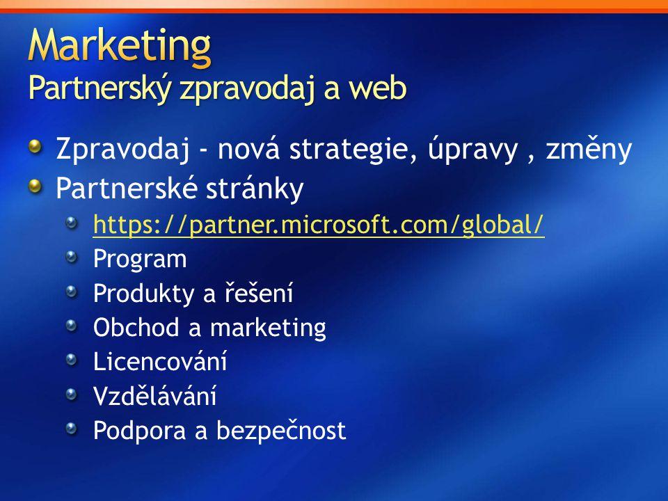 Zpravodaj - nová strategie, úpravy, změny Partnerské stránky https://partner.microsoft.com/global/ Program Produkty a řešení Obchod a marketing Licenc