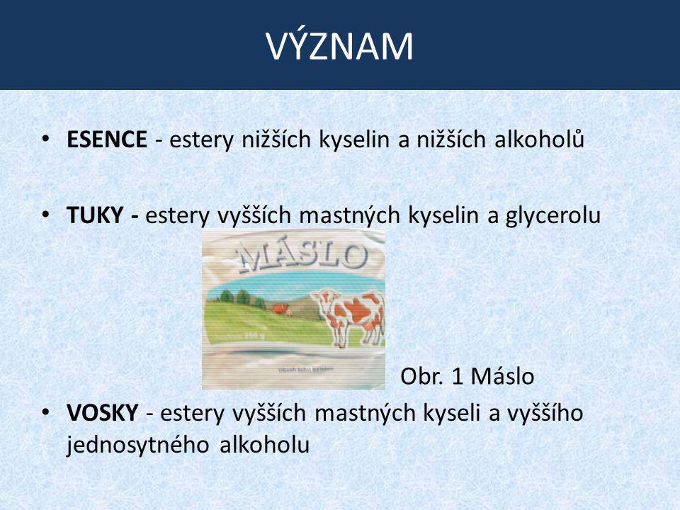 VÝZNAM ESENCE - estery nižších kyselin a nižších alkoholů TUKY - estery vyšších mastných kyselin a glycerolu VOSKY - estery vyšších mastných kyseli a