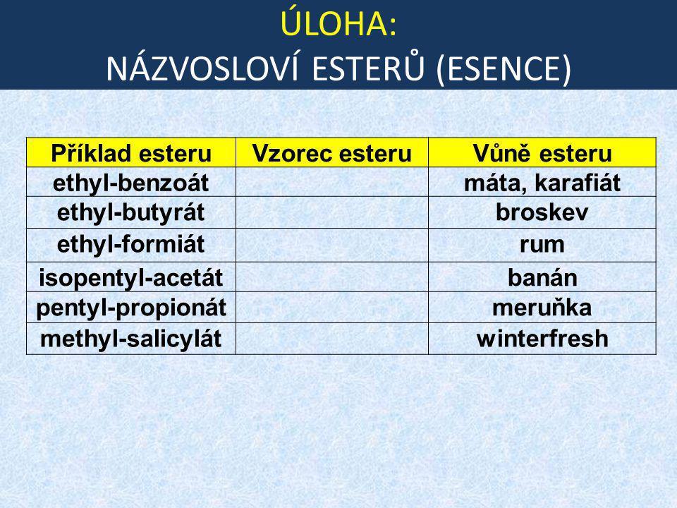 ÚLOHA: NÁZVOSLOVÍ ESTERŮ (ESENCE) Příklad esteruVzorec esteruVůně esteru ethyl-benzoátmáta, karafiát ethyl-butyrátbroskev ethyl-formiátrum isopentyl-a