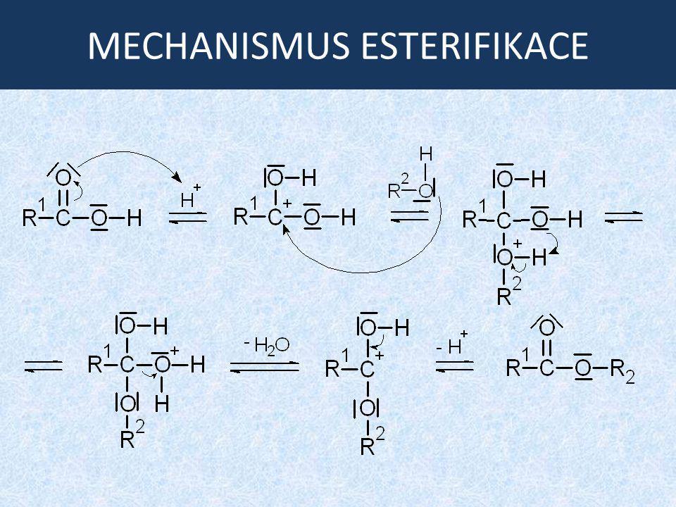 ÚLOHA: Příprava esterů Doplňte rovnice reakcí a pojmenujte všechny látky: