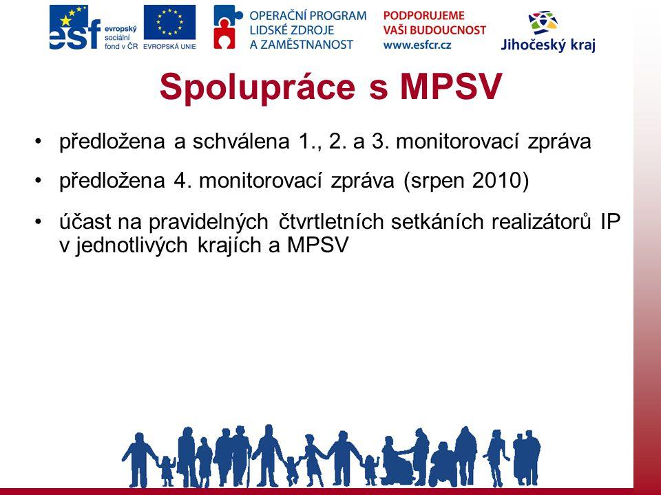Spolupráce s MPSV předložena a schválena 1., 2. a 3. monitorovací zpráva předložena 4. monitorovací zpráva (srpen 2010) účast na pravidelných čtvrtlet
