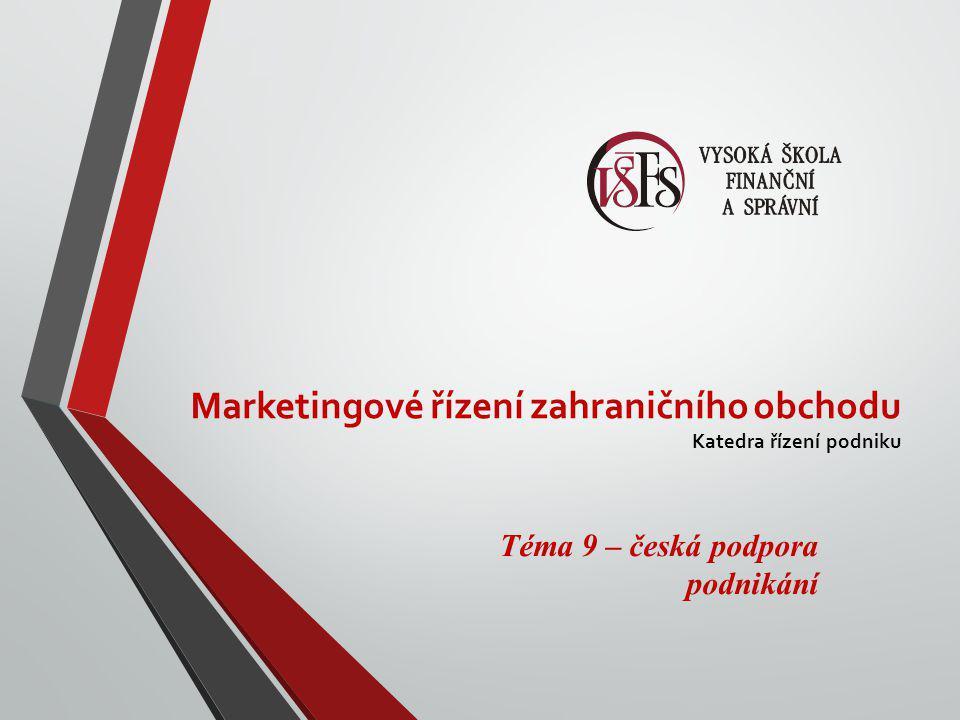 Marketingové řízení zahraničního obchodu Katedra řízení podniku Téma 9 – česká podpora podnikání