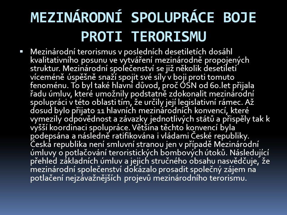 MEZINÁRODNÍ SPOLUPRÁCE BOJE PROTI TERORISMU  Mezinárodní terorismus v posledních desetiletích dosáhl kvalitativního posunu ve vytváření mezinárodně p