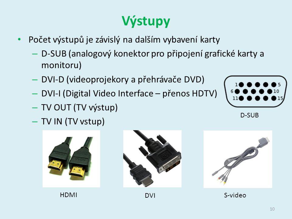 Výstupy Počet výstupů je závislý na dalším vybavení karty – D-SUB (analogový konektor pro připojení grafické karty a monitoru) – DVI-D (videoprojekory a přehrávače DVD) – DVI-I (Digital Video Interface – přenos HDTV) – TV OUT (TV výstup) – TV IN (TV vstup) D-SUB 10 HDMI DVI S-video