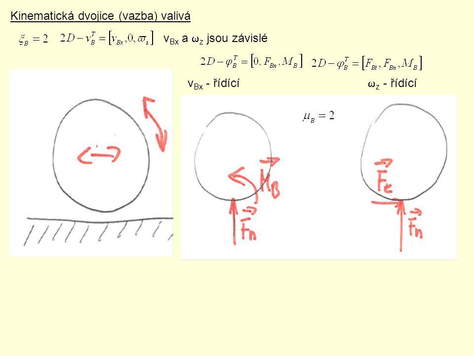 Kinematická dvojice (vazba) valivá v Bx a  z jsou závislé v Bx - řídící  z - řídící