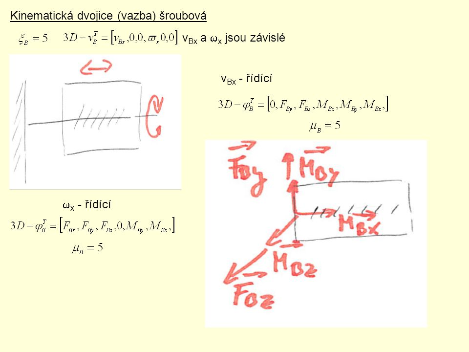 Kinematická dvojice (vazba) šroubová v Bx a  x jsou závislé v Bx - řídící  x - řídící