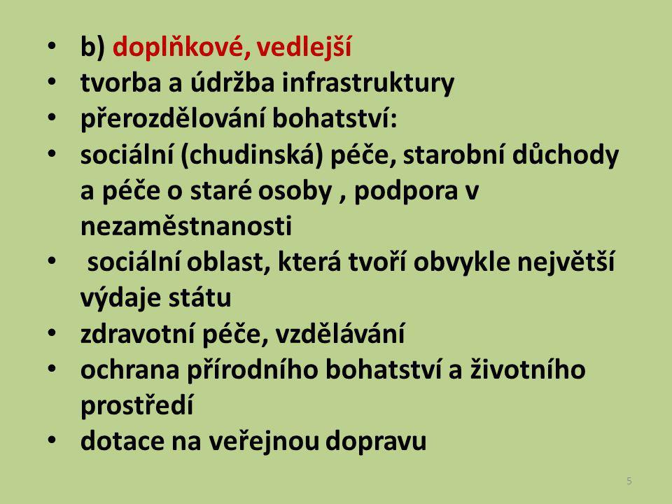 5 b) doplňkové, vedlejší tvorba a údržba infrastruktury přerozdělování bohatství: sociální (chudinská) péče, starobní důchody a péče o staré osoby, po