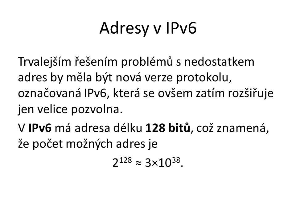 Adresy v IPv6 Trvalejším řešením problémů s nedostatkem adres by měla být nová verze protokolu, označovaná IPv6, která se ovšem zatím rozšiřuje jen ve