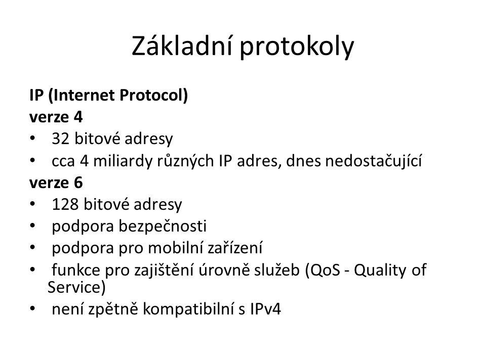Základní protokoly IP (Internet Protocol) verze 4 32 bitové adresy cca 4 miliardy různých IP adres, dnes nedostačující verze 6 128 bitové adresy podpo