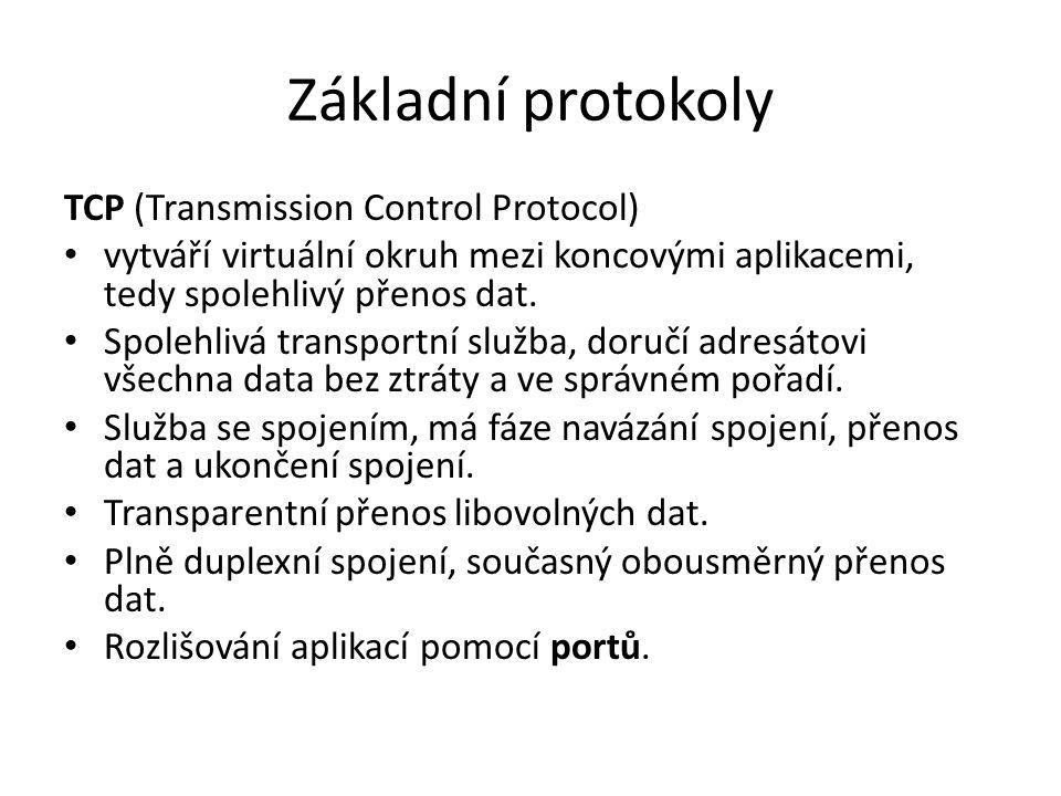 Základní protokoly TCP (Transmission Control Protocol) vytváří virtuální okruh mezi koncovými aplikacemi, tedy spolehlivý přenos dat. Spolehlivá trans