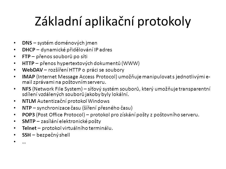 Základní aplikační protokoly DNS – systém doménových jmen DHCP – dynamické přidělování IP adres FTP – přenos souborů po síti HTTP – přenos hypertextov