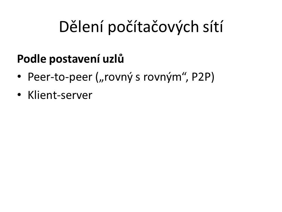 """Dělení počítačových sítí Podle postavení uzlů Peer-to-peer (""""rovný s rovným"""", P2P) Klient-server"""