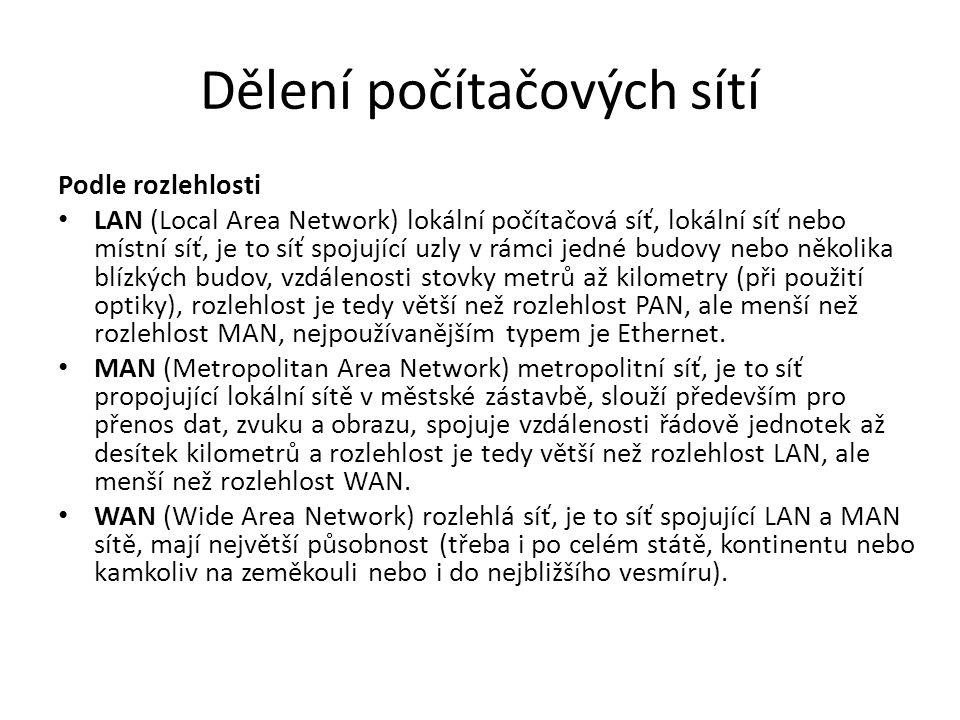 Dělení počítačových sítí Podle rozlehlosti LAN (Local Area Network) lokální počítačová síť, lokální síť nebo místní síť, je to síť spojující uzly v rá