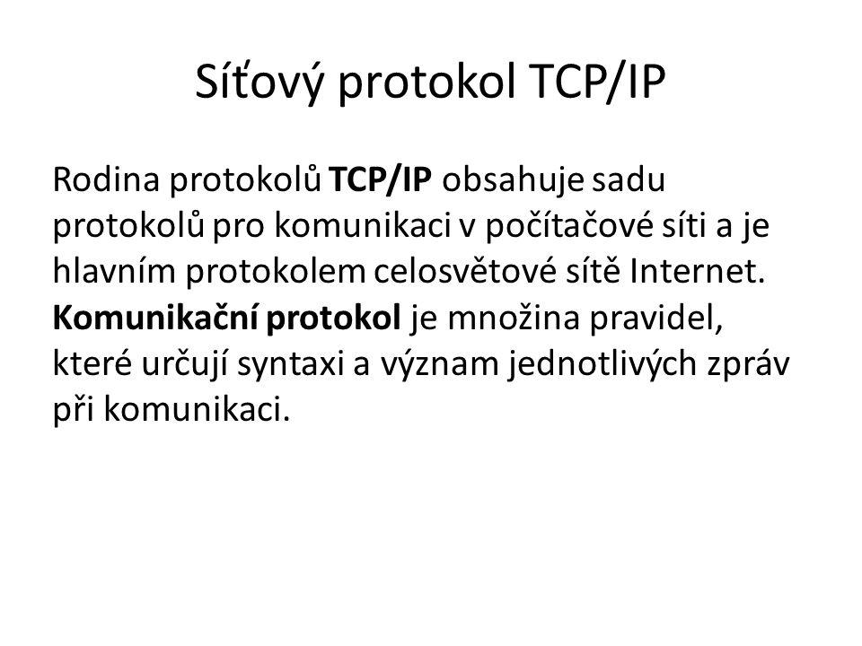 Síťový protokol TCP/IP Rodina protokolů TCP/IP obsahuje sadu protokolů pro komunikaci v počítačové síti a je hlavním protokolem celosvětové sítě Inter