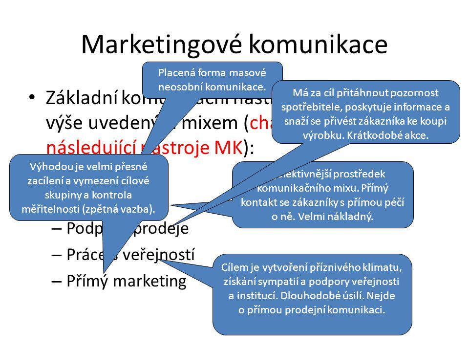 Marketingové komunikace Základní komunikační nástroje, které pracují s výše uvedeným mixem (charakterizujte následující nástroje MK): – Reklama – Osobní prodej – Podpora prodeje – Práce s veřejností – Přímý marketing Placená forma masové neosobní komunikace.