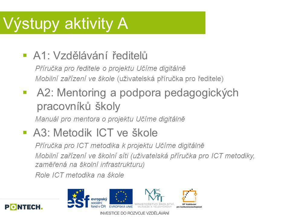 Výstupy aktivity A  A1: Vzdělávání ředitelů Příručka pro ředitele o projektu Učíme digitálně Mobilní zařízení ve škole (uživatelská příručka pro ředi