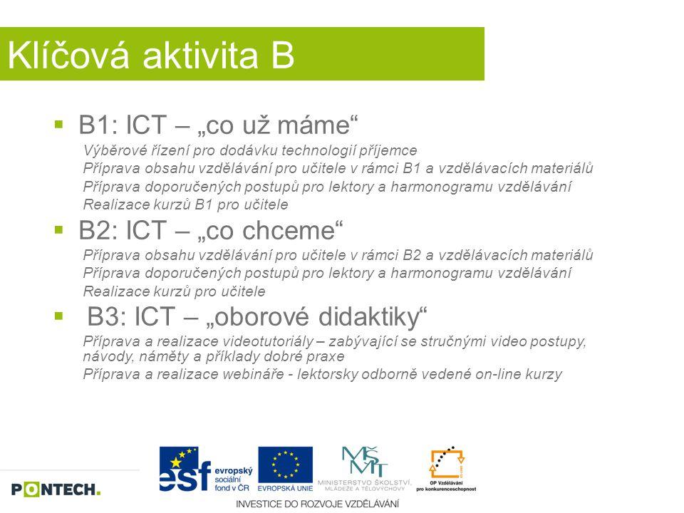 """Klíčová aktivita B  B1: ICT – """"co už máme"""" Výběrové řízení pro dodávku technologií příjemce Příprava obsahu vzdělávání pro učitele v rámci B1 a vzděl"""