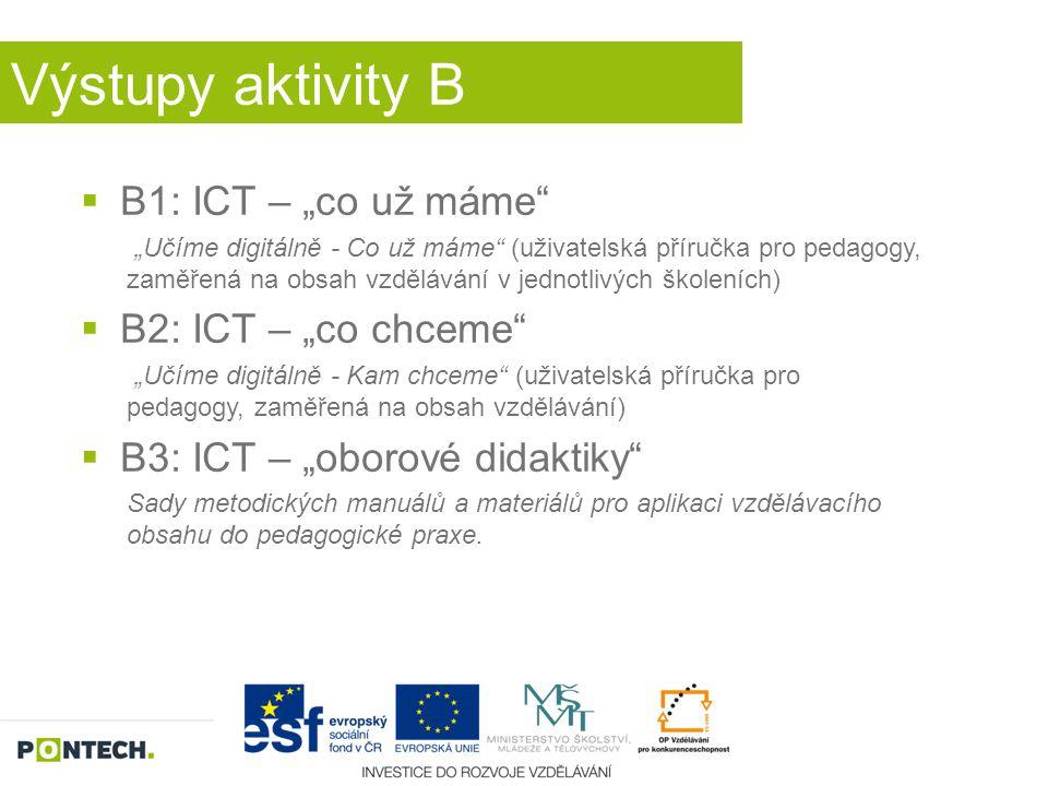 """Výstupy aktivity B  B1: ICT – """"co už máme"""" """"Učíme digitálně - Co už máme"""" (uživatelská příručka pro pedagogy, zaměřená na obsah vzdělávání v jednotli"""