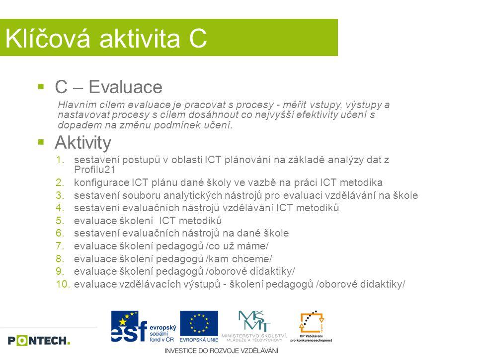 Klíčová aktivita C  C – Evaluace Hlavním cílem evaluace je pracovat s procesy - měřit vstupy, výstupy a nastavovat procesy s cílem dosáhnout co nejvy