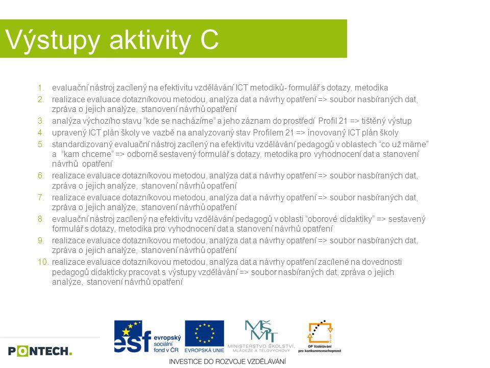 Výstupy aktivity C 1.evaluační nástroj zacílený na efektivitu vzdělávání ICT metodiků- formulář s dotazy, metodika 2.realizace evaluace dotazníkovou m